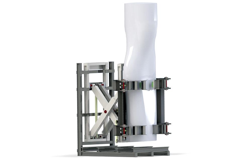 Modell einer Montagehilfe für Rotorblätter von Windkraftanlagen. Grafik: Lars Dohrmann, IPH