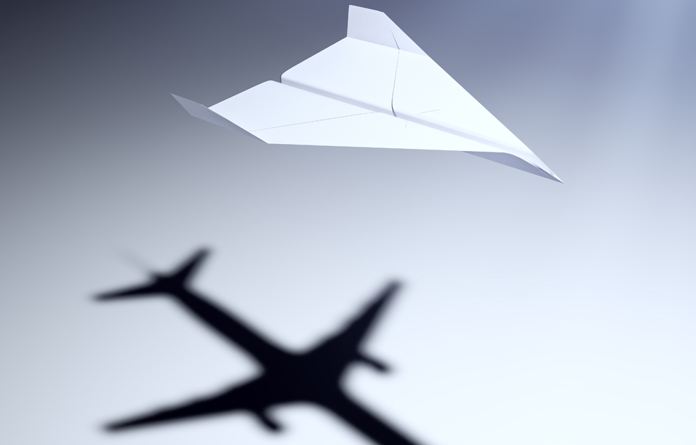 Paper airplane with big aspirations