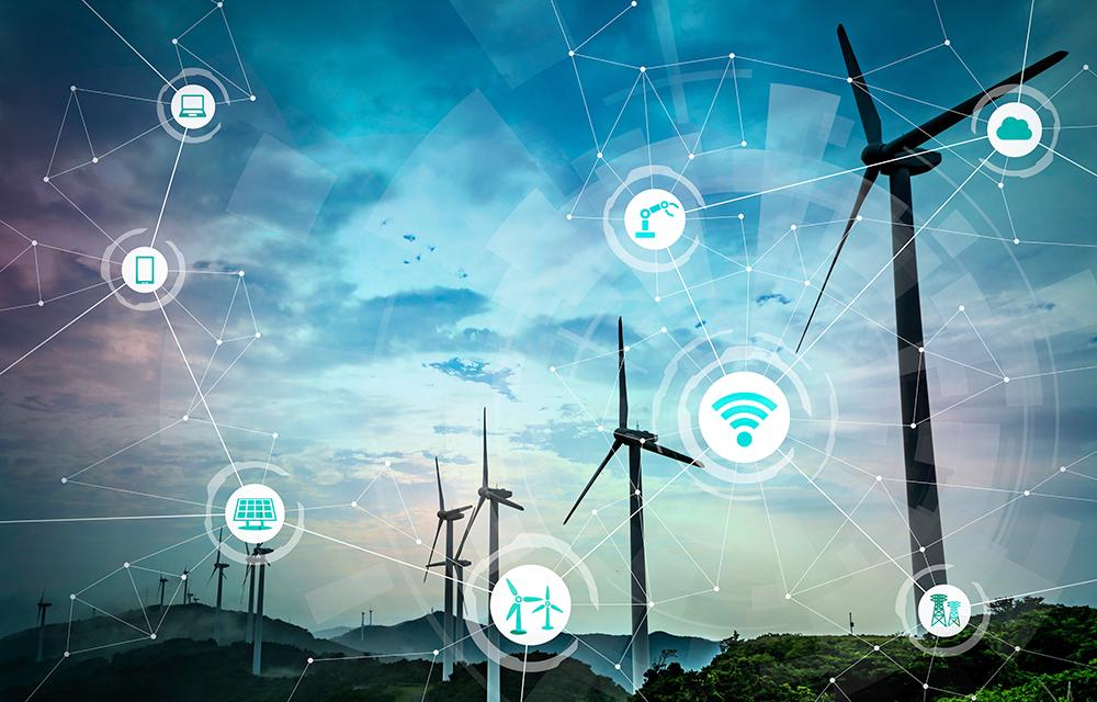 Renewable energy and Internet of Things. Smart factory. Smart en