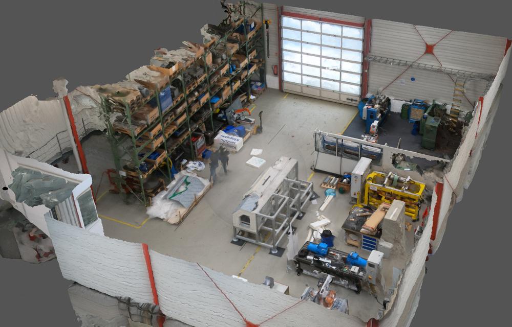 Dieses dreidimensionale Layout der IPH-Versuchshalle wurde mittels Photogrammetrie aus unzähligen Einzelfotos zusammengesetzt. (Bild: IPH)